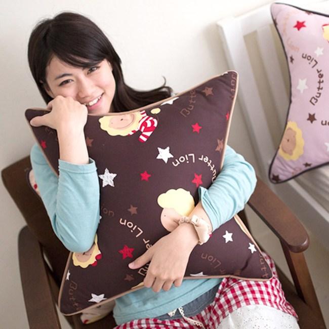 【奶油獅】正版授權 台灣製造-搖滾星星可拆洗方型抱枕(咖啡)