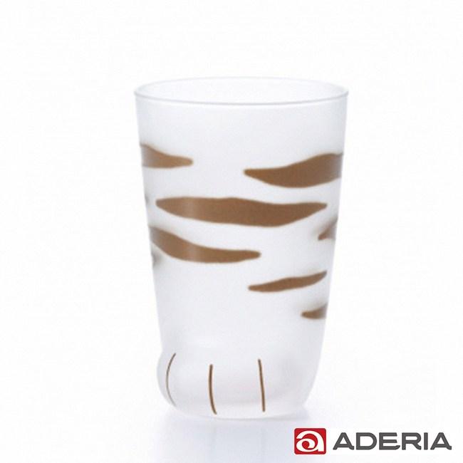 【ADERIA】日本進口可愛貓足磨砂玻璃杯300ML-虎斑款