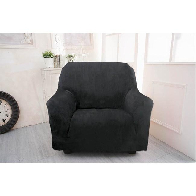 【Osun】厚棉絨溫暖柔順-1人座一體成型防蹣彈性沙發套黑色