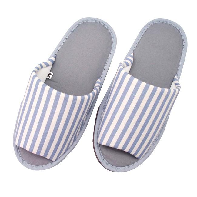 無印風條紋家居布拖鞋-藍M