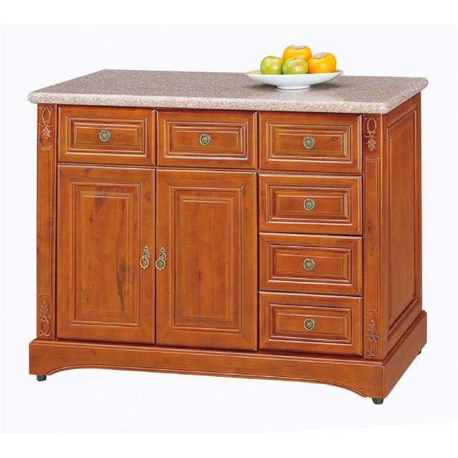 【YFS】布萊茲正樟木4尺石面碗盤櫃下座-117x48x87cm