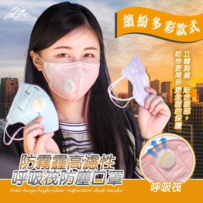 【Incare】防霧霾高濾性呼吸筏防塵口罩-一包(兩入)造型隨機可愛
