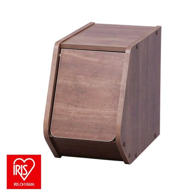 日本 IRIS 木質可掀門堆疊櫃 寬20CM 深木色 採E1板材