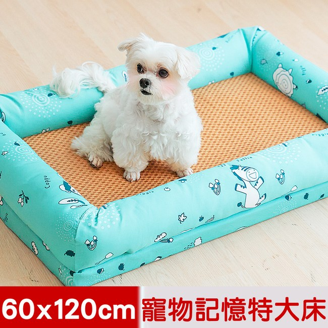 【奶油獅】森林野餐-寵物透氣紙纖涼蓆記憶床墊-特大60*120cm-藍
