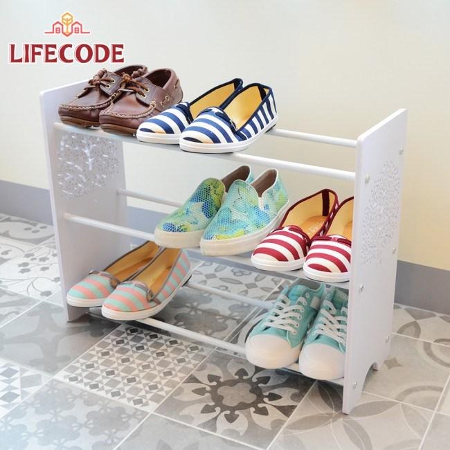 LIFECODE《卡夫》雕花紋三層鞋架