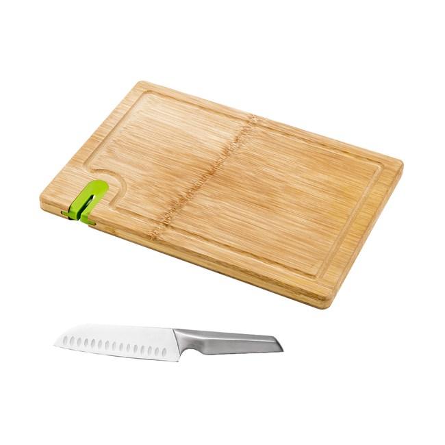 (組)爵仕不鏽鋼日式廚刀+一片竹砧板附磨刀器