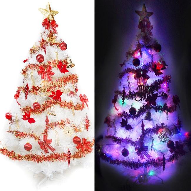 【摩達客】台灣製5尺特級白色松針葉聖誕樹(紅金色系+100燈LED燈2串彩光(附控制器