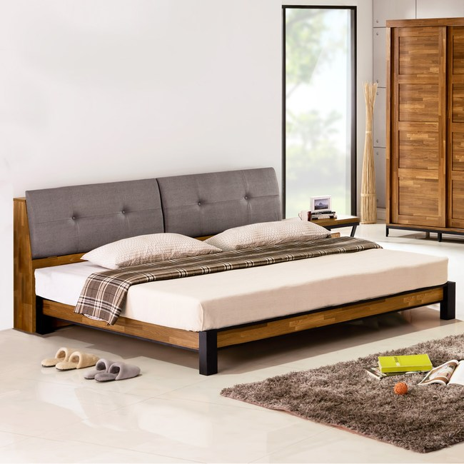 Homelike 凱德工業風床架組(含床頭箱)-雙人加大6尺