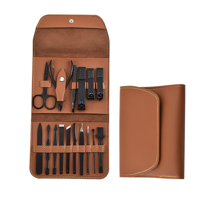 PUSH!居家生活用品指甲剪修甲工具16件套裝B34棕色16件套