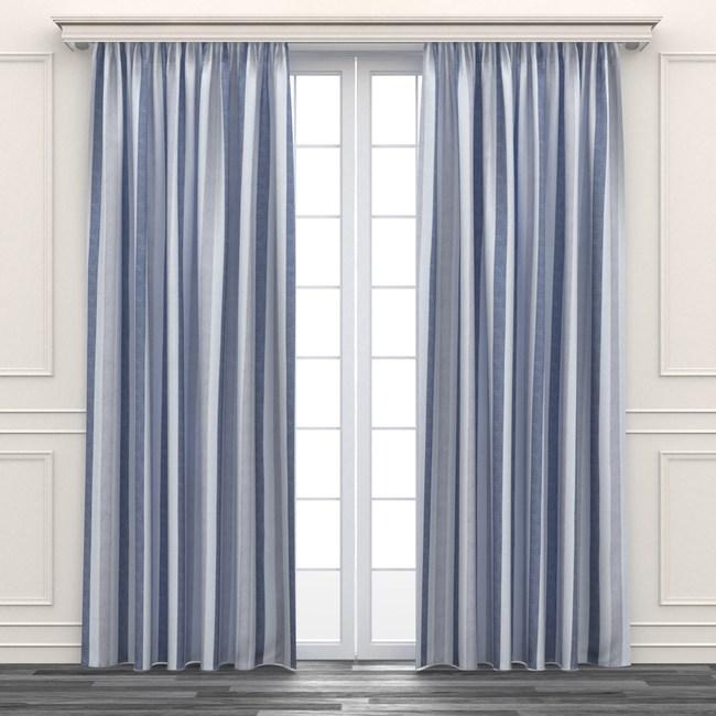 簡約色條印花遮光窗簾 寬200x高165cm 藍色