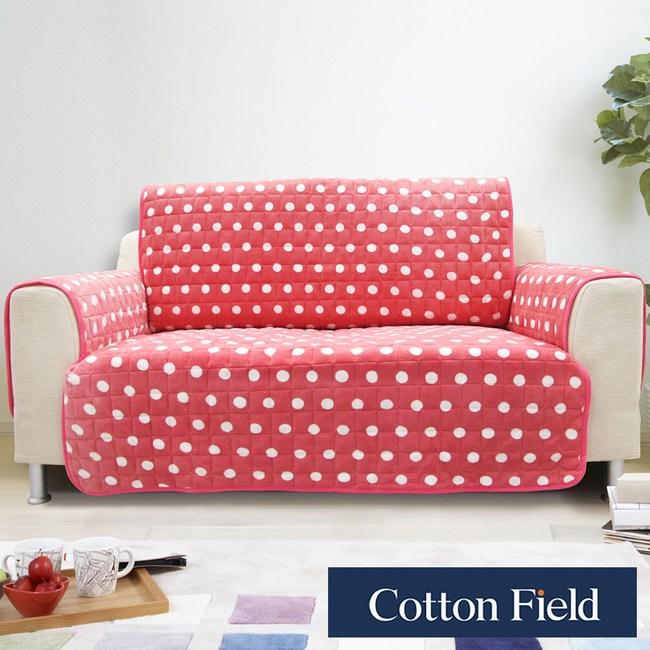 棉花田【暖點】三人沙發防滑保暖保潔墊-蜜桃粉三人-蜜桃粉