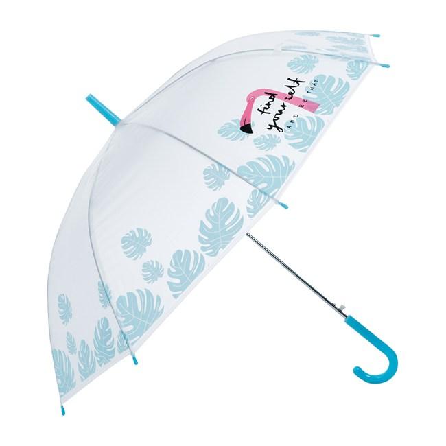 樂嫚妮 自動開直立雨傘-火烈鳥-藍柄289火烈鳥-藍