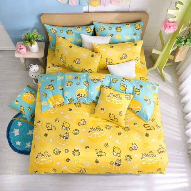 【BREAD TREE麵包樹】精梳棉雙人鋪棉兩用被套(檸檬派對)檸檬派對(黃/藍綠)