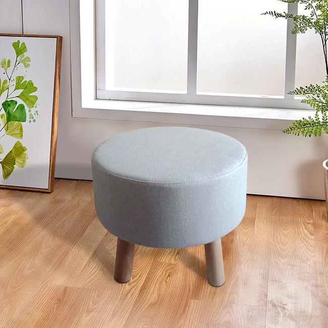 實木圓形棉麻可拆洗穿鞋凳-淺灰色