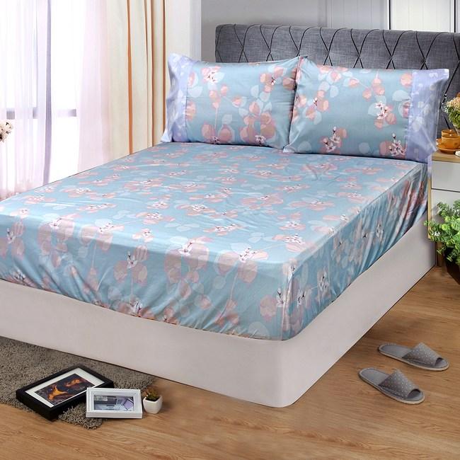 【FITNESS】精梳棉特大床包+枕套三件組-佛洛拉(藍綠)
