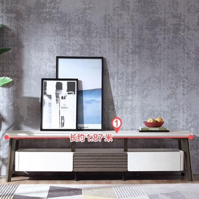 林氏木業現代風磨砂玻璃雙層三抽電視櫃LS062M2