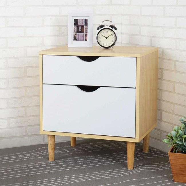 Homelike 卡雅二抽床頭櫃-楓木+白