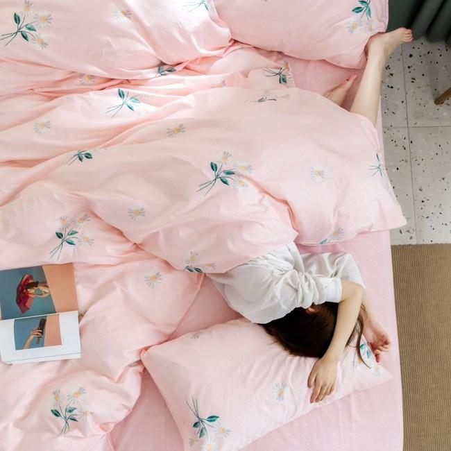 【eyah】台灣製200織精梳棉加大床包枕套3件組-等待花香的日子