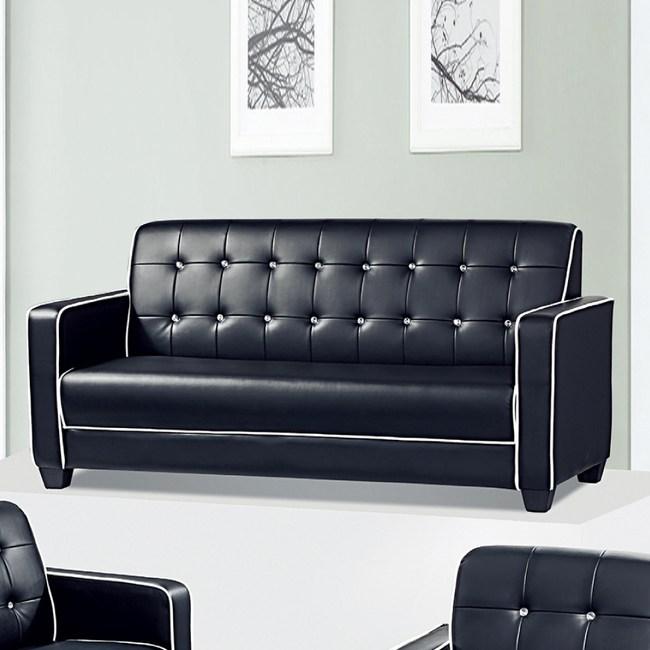 【YFS】蘿拉黑皮水鑽三人沙發-183x77x87cm