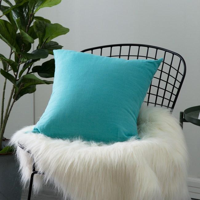 IN-HOUSE-棉麻抱枕-土耳其藍(50x50cm)