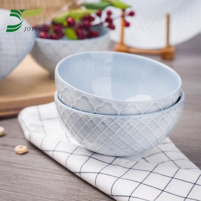 【JOYYE陶瓷餐具】幾何人生浮雕小腳碗(一套2件)