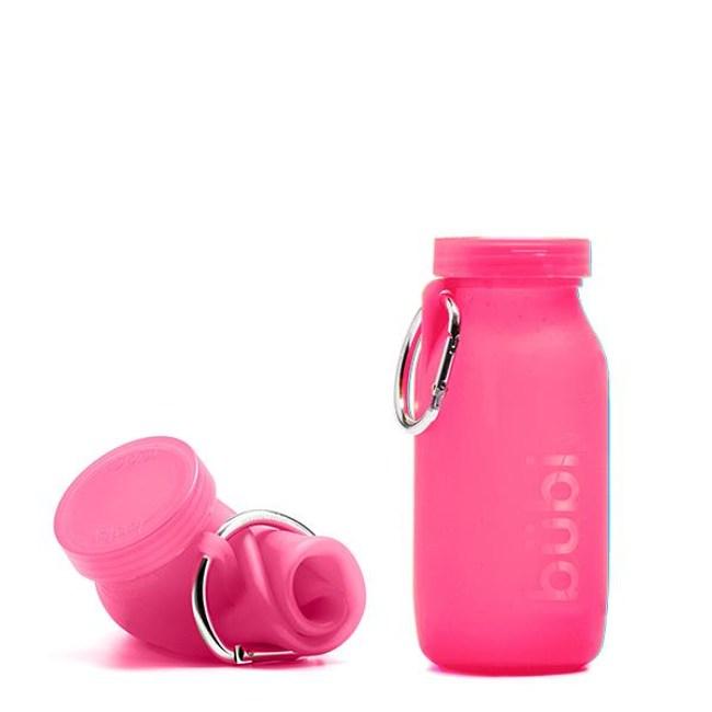 BUBI BOTTLE 矽膠摺疊多功能水壺 450ml - 粉色