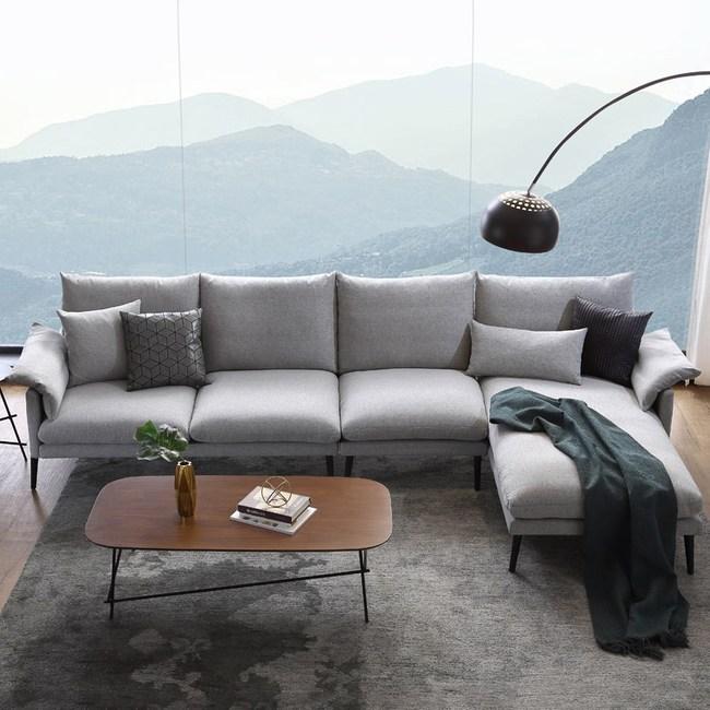 林氏木業輕奢現代可拆洗北歐左L四人布沙發 RAG1K-淺灰色