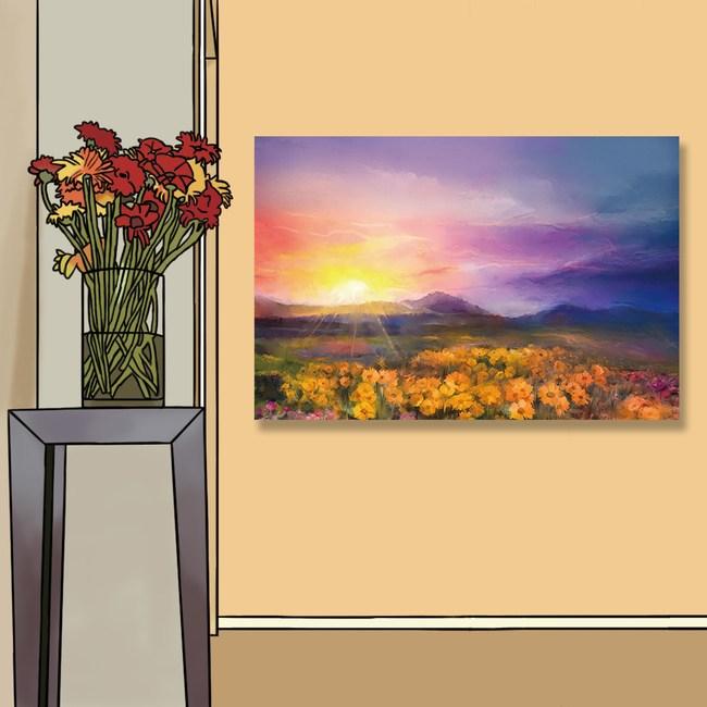 【24mama 掛畫】單聯式 油畫布 無框畫 60x40cm-雛菊田園油畫布無時鐘