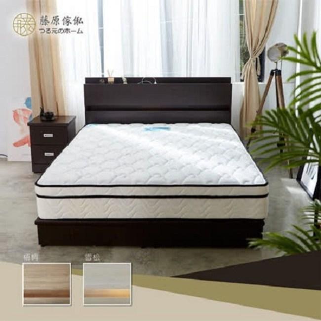 【藤原傢俬】兩件式房間組(2層收納床頭+3分床底)雪松雙人