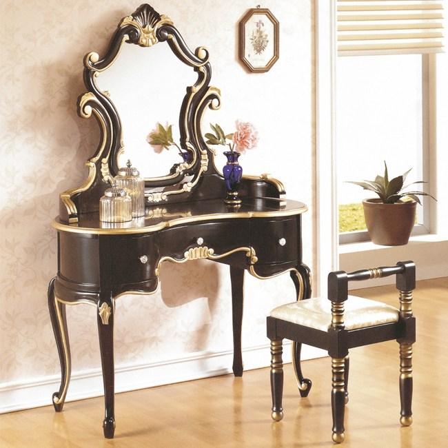 帝國法式黑金色化妝台+化妝椅