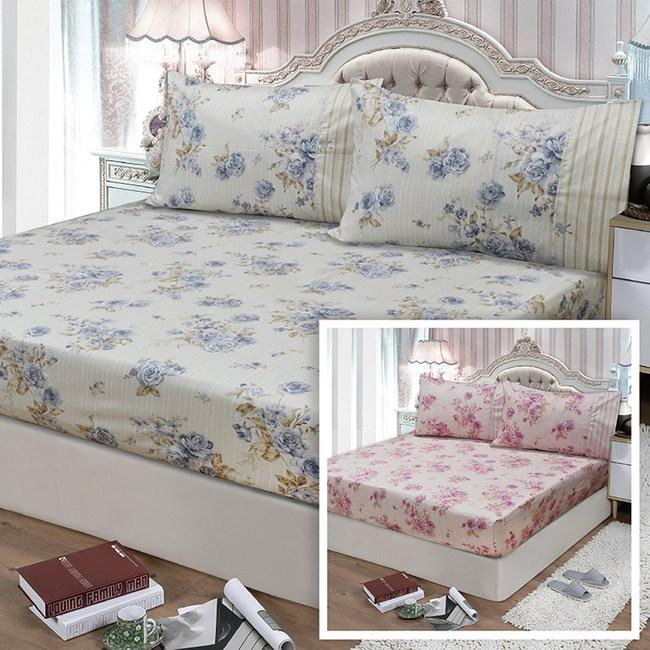 【FITNESS】精梳棉雙人床包枕套三件組-醇香莊園(2色任選)藍5*6.2