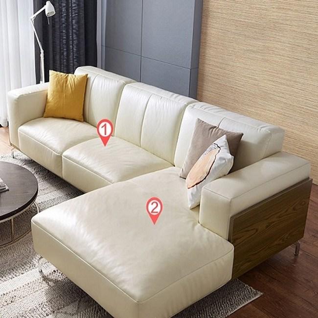 林氏木業奢華歐式頭層牛皮L型左貴妃三人皮沙發(附抱枕)2090-米白