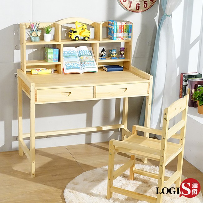LOGIS 多層架大地實木成長桌椅組(100X50CM) CBV100