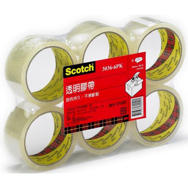 3M Scotch 透明封箱膠帶6入