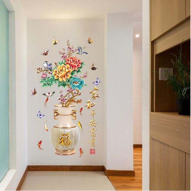 【Loviisa 花瓶牡丹】無痕壁貼 壁紙