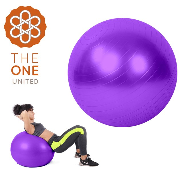 【The One】環保PVC皮拉提斯防爆瑜珈球65cm(附打氣工具)紫色