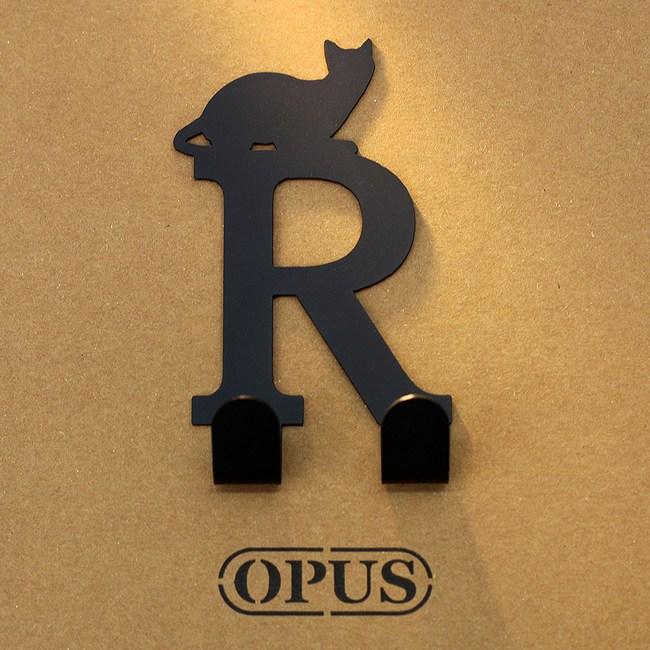 OPUS 歐式鐵藝壁飾掛勾/無痕掛鉤(當貓咪遇上字母R)黑