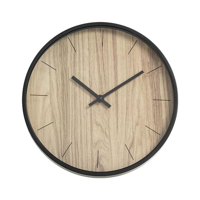 樂嫚妮 簡約仿木紋掛鐘/時鐘/12吋/低噪-淺木紋色淺木紋