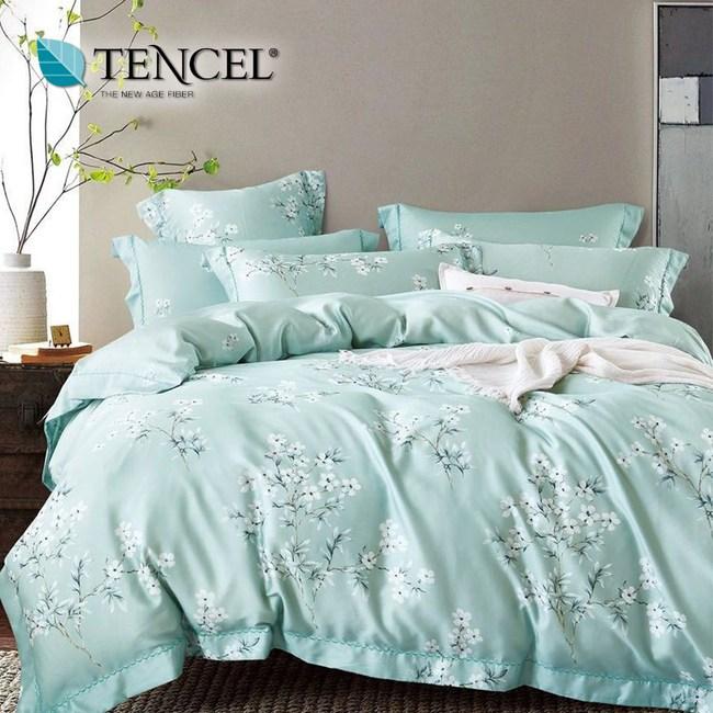 【貝兒居家寢飾生活館】頂級100%天絲床罩鋪棉兩用被七件組(雙人/花雨露)