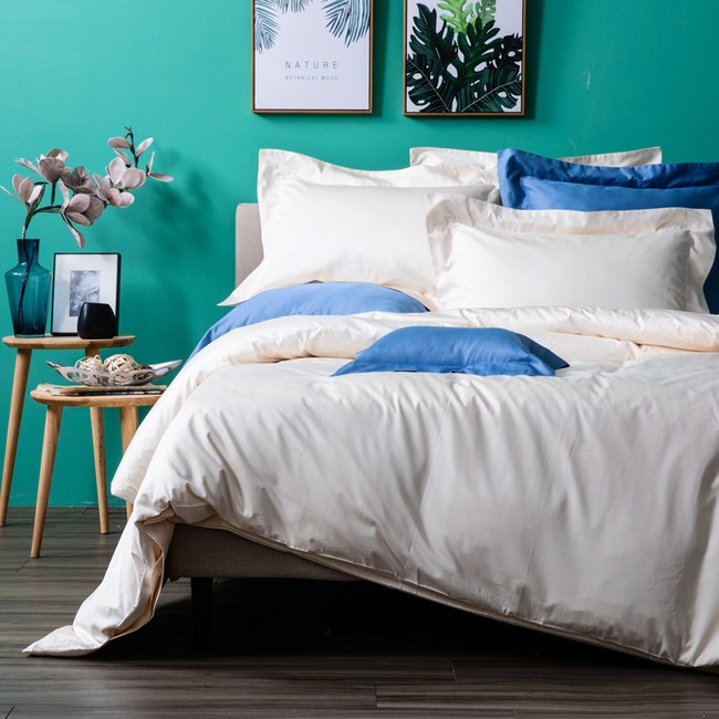 HOLA 托斯卡素色純棉床包 加大 淺米
