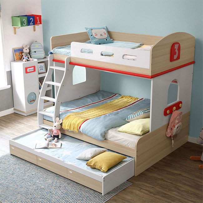 林氏木業創意兒童雙人5尺雙層床EQ2A-A(含拖床,不含床墊及梯櫃)