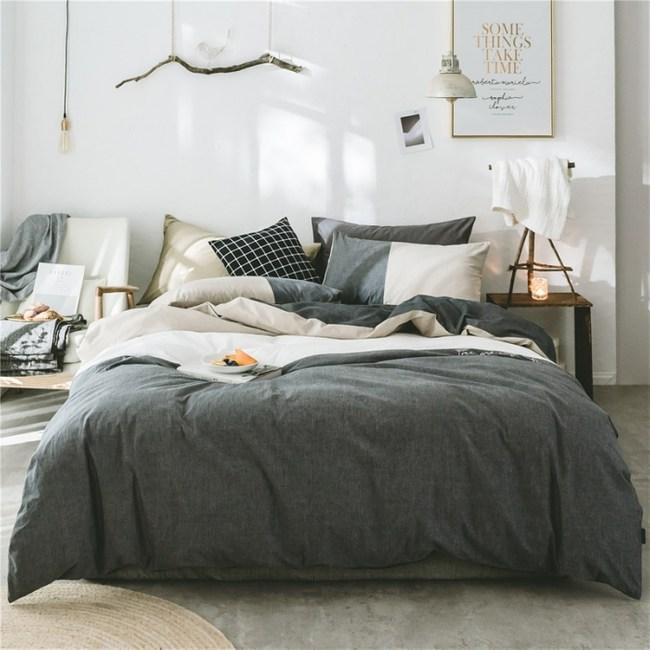 簡約純色水洗棉床包被套雙人四件組-深灰