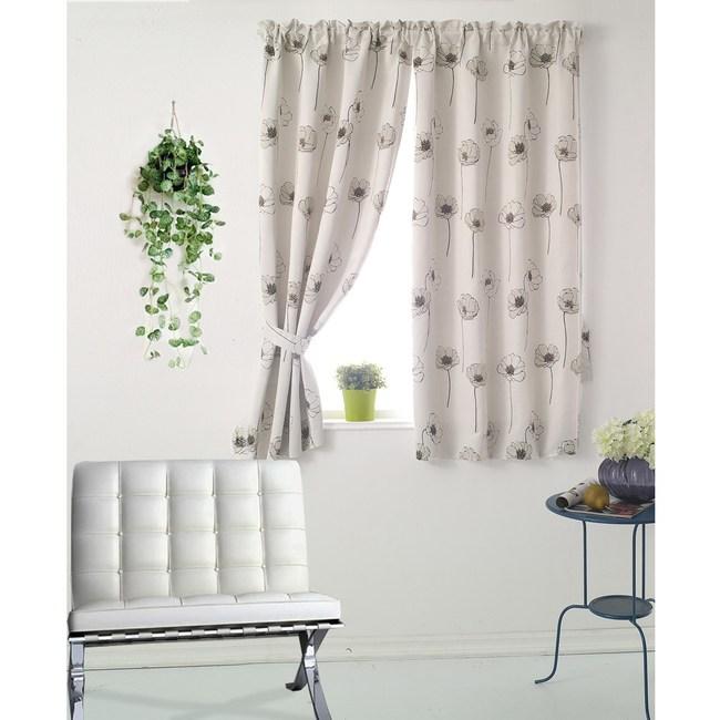【三房兩廳】花舞幸運草遮光窗簾-米色200X165cm