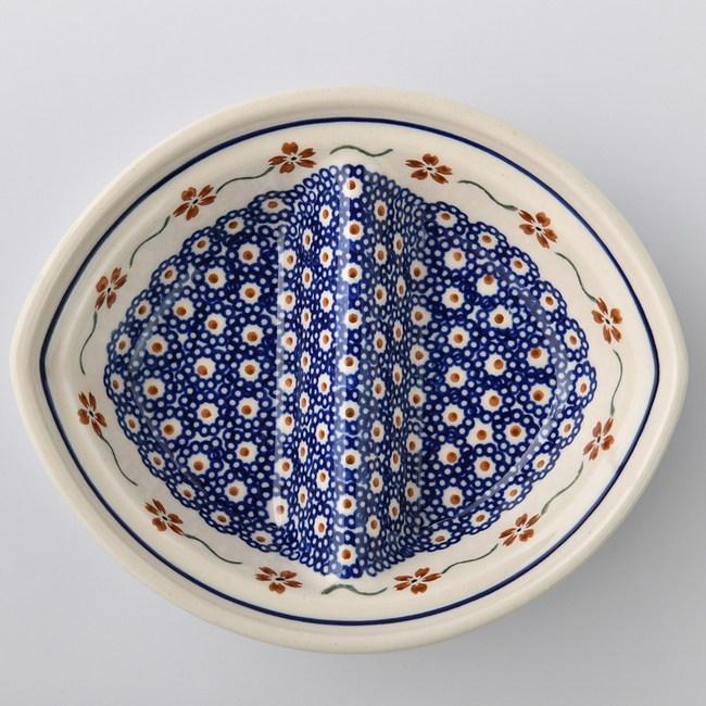 波蘭陶 紅點藍花系列 二格分隔盤 18x15cm 波蘭手工製