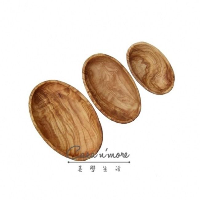 Olive Wood 天然木紋 橄欖木 橢圓盤組 3入