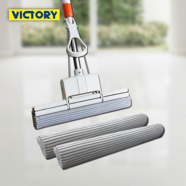 【VICTORY】業務用雙滾輪特大吸水膠棉拖把38cm(1拖2替換頭)