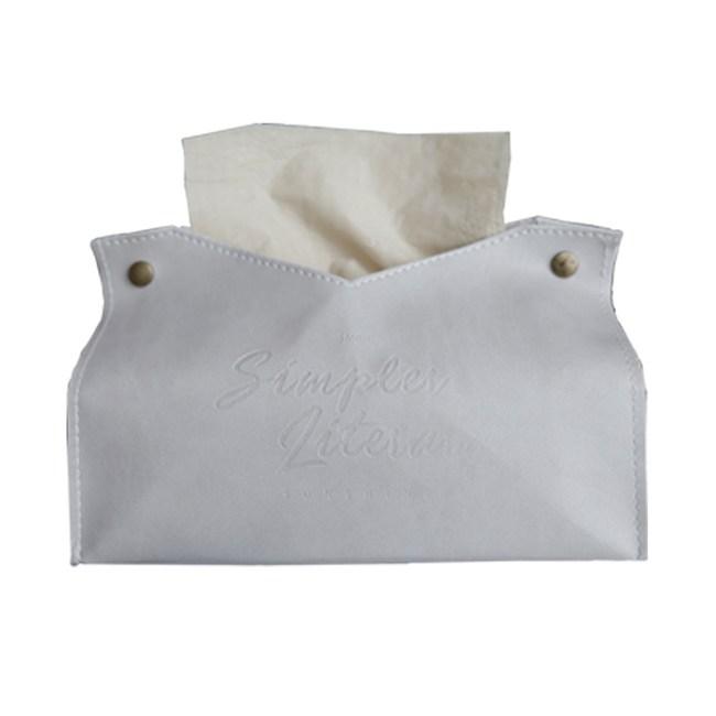 【三房兩廳】北歐皮革優質面紙盒/紙巾盒/衛生紙/置物收納(米白色)
