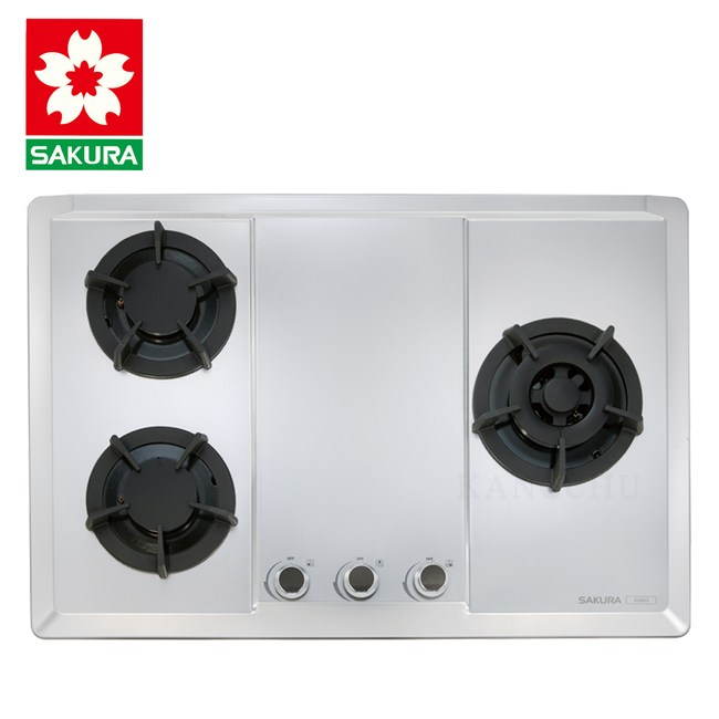 櫻花牌 G2633S 珍珠壓紋不鏽鋼檯面式三口瓦斯爐-桶裝