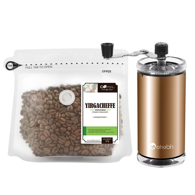CoFeel 凱飛鮮烘豆衣索比亞耶加雪夫淺烘焙咖啡豆半磅+磨豆機