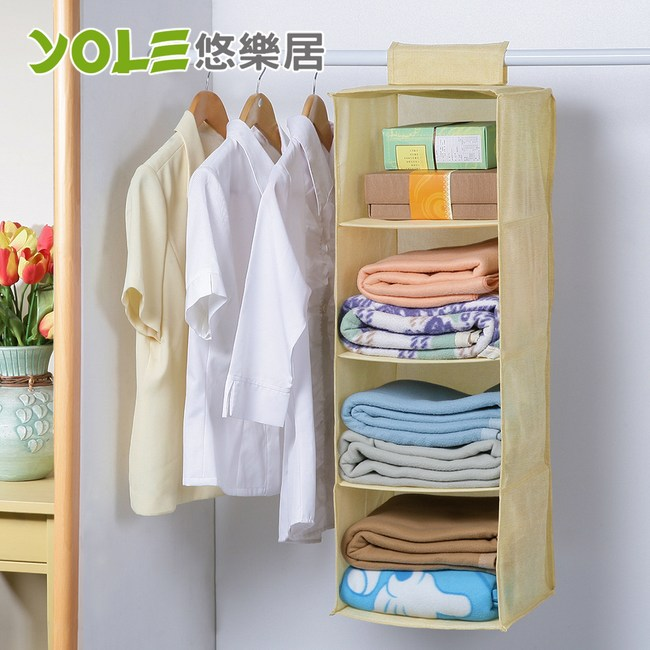 【YOLE悠樂居】水洗棉麻四格衣櫃收納掛袋-米(2入)